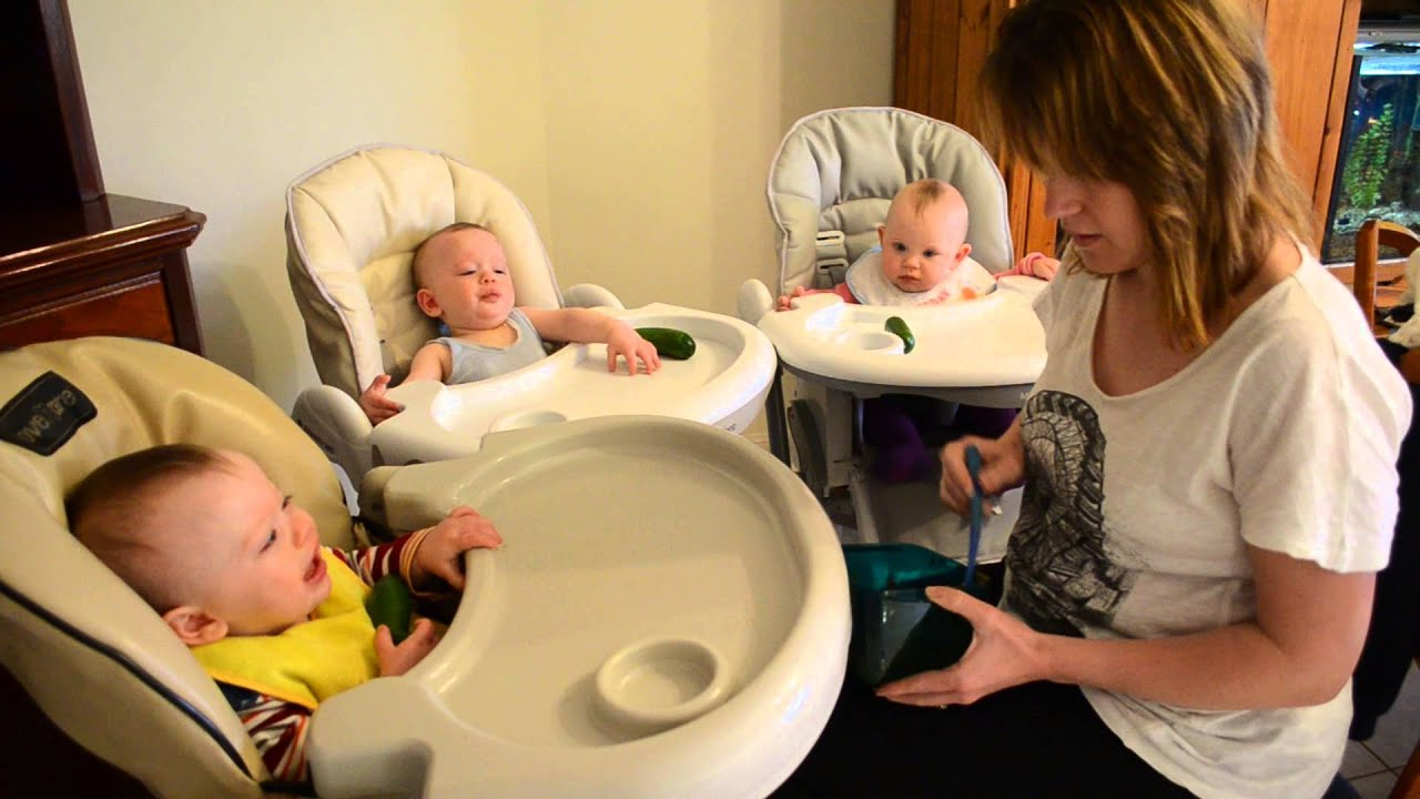 Feeding 10 month old triplets solids - YouTube
