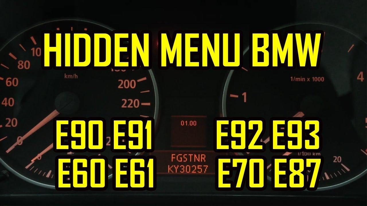 bmw e90 e91 e92 e93 e60 e61 e70 e87 hidden menu all codes [ 1280 x 720 Pixel ]