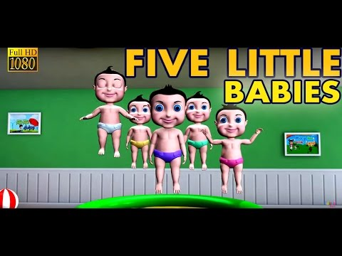 Five Little Babies Jumping on the Bed || Nursery Rhyme and 3D Animation Rhymes For Childrens