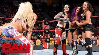 The Riott Squad attack Bayley and Sasha Banks: Raw, April 16, 2018