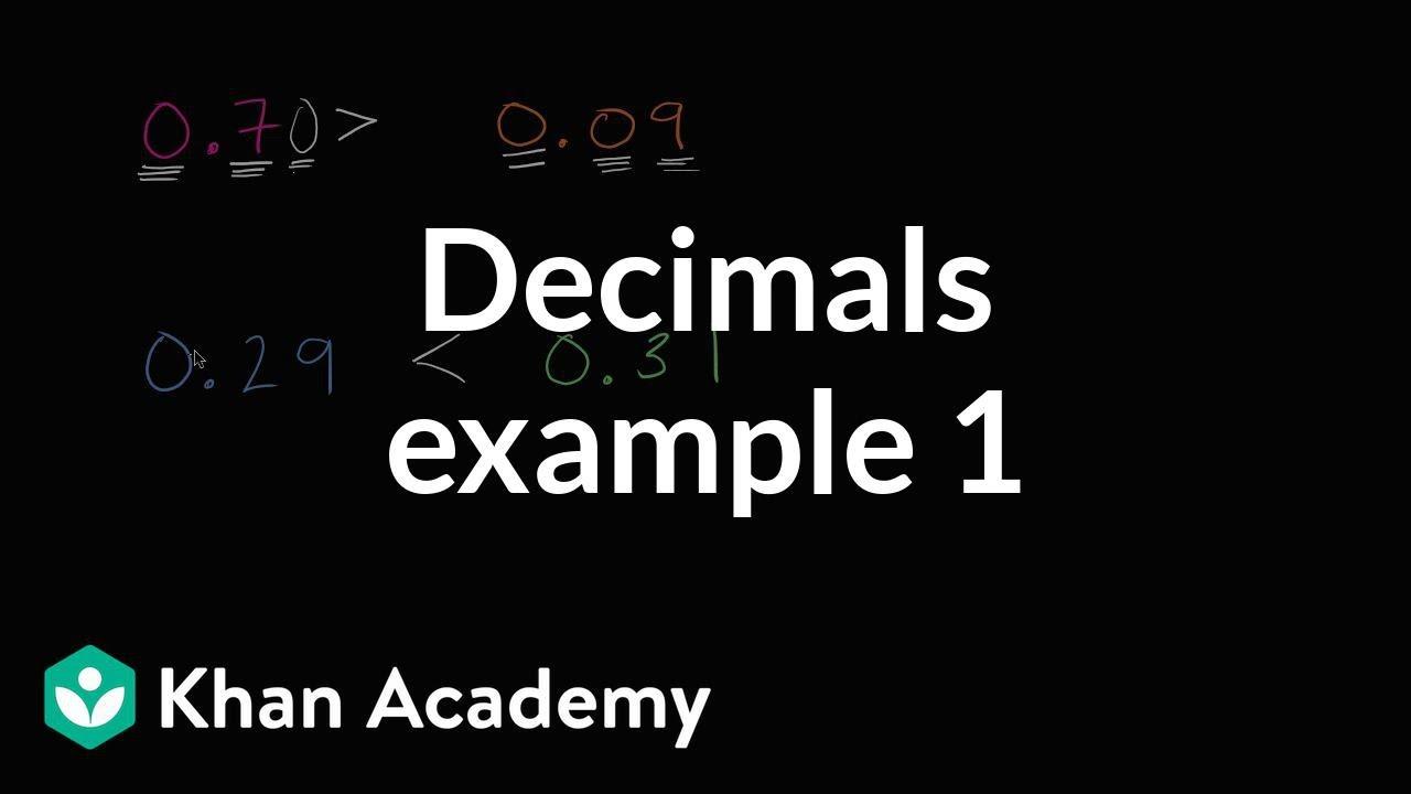 Comparing decimals example 1   Decimals   4th grade   Khan Academy - YouTube [ 720 x 1280 Pixel ]