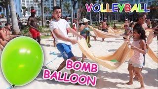 KIDS REACT! Crazy Beach Volleyball Water Bomb Balloon Challenge