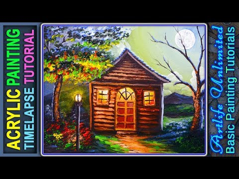 Acrylic Night Scene Painting Lesson House with Light during Full Moon | ACRYLIC PAINTING TUTORIAL