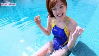 Blue One Piece Swimsuits Athletic Features (Swimsuit Racing). Model...