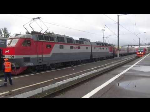 Отправление ЧС7-048 с поездом№238С Анапа-Москва со станции Калуга-1 6.07.2019