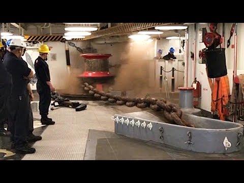 Dangerous Anchor Drop: Navy Amphibious Assault Ship Conducts Anchoring Evolution
