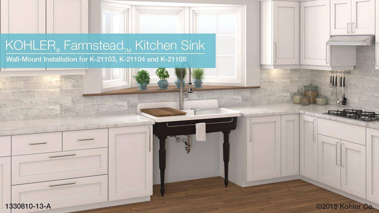 wall mount installation farmstead kitchen sink