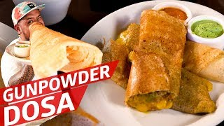 Rolling Gunpowder Dosa at Santa Fe