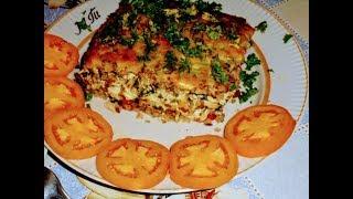 Запеканка..Гречневая запеканка с вареной куриной грудкой,овощами и сыром.