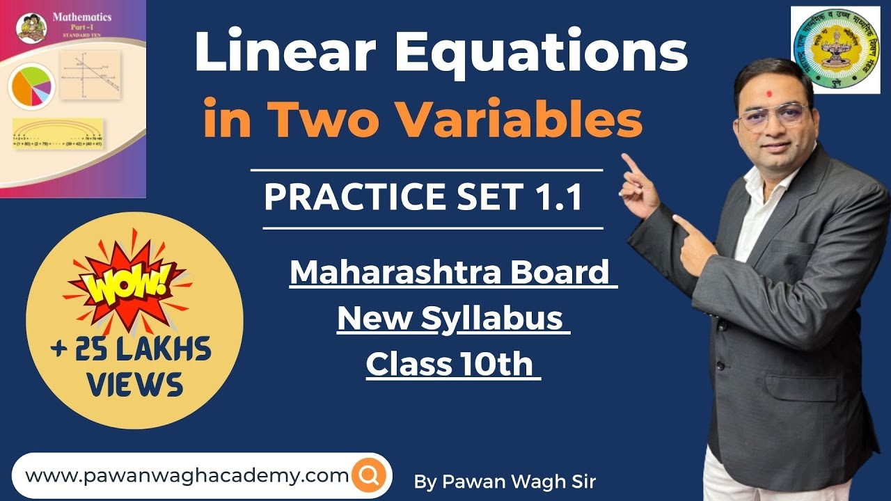 Linear Equations in Two Variables Class 10th Maharashtra Board New Syllabus  Part 1