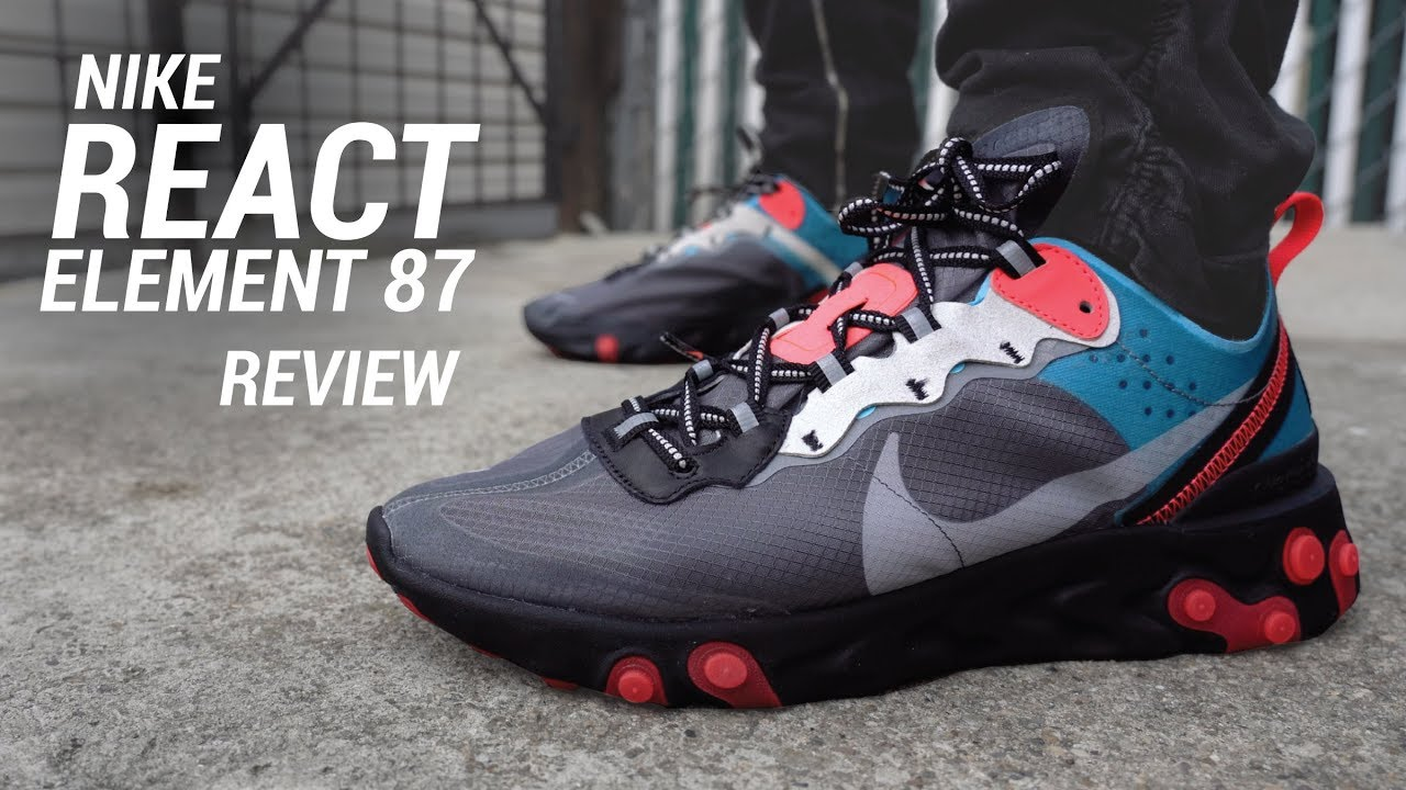 d2b0bbad99a4 Nike React Element 87 Dark Grey Red White Blue Size 10.5 Men s Shoes