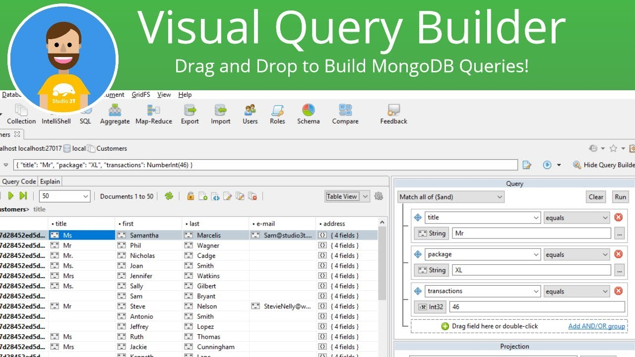 Visual Query Builder | Build MongoDB queries, no mongo shell needed