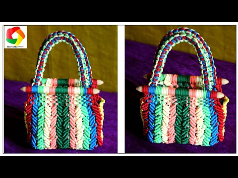 How to make Ladies Bag using Waste Macrame Threads full step