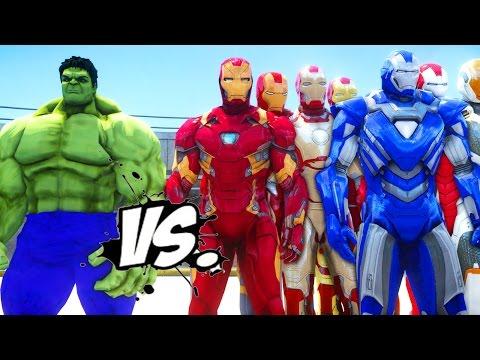 THE HULK VS IRON MAN ARMY - EPIC SUPERHEROES BATTLE