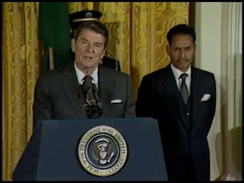 President Reagan Meeting with Lieutenant General H. M. Ershad of Bangladesh on October 25, 1983