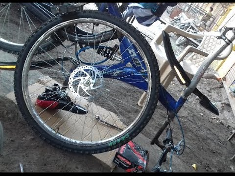 How to install front disk brakes in any bycycle in very low price  ( part 2) in hindi