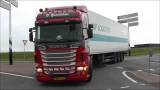 Trucks and 3 trains, railroad crossing Hoek van Holland, NL, 20 SEP 2013, part 1 of 10