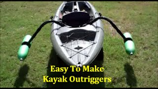 EASY Homemade Kayak Outriggers - Pontoons - Stabilizers ~DIY(This video shows an easy way to add Outriggers to your kayak. These Outriggers (Pontoons / Stabilizers) are made from materials you can find at most Big Box ..., 2014-11-06T15:40:03.000Z)