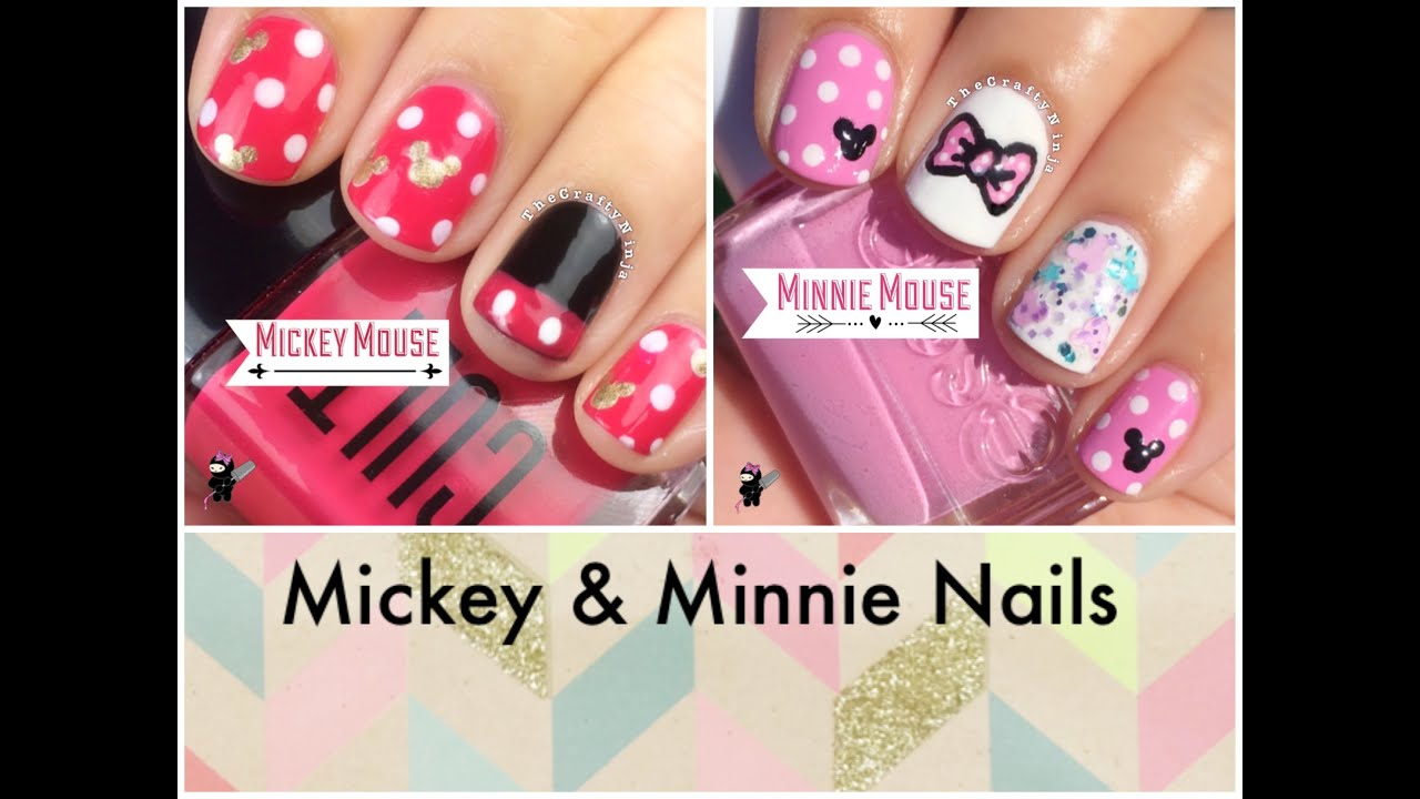 Mickey and Minnie Mouse Nails by The Crafty Ninja - YouTube