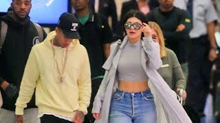 Kylie Jenner And Tyga Arriving Back In LA On Earlybird Flight