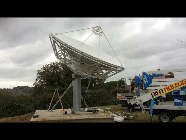 Skybrokers installing a VertexRSI 6.1m Antenna in Rome