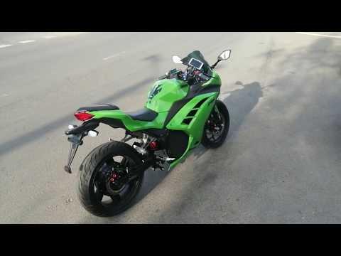 Электромотоцикл Kawasaki Ninja. 4000 Вт. Езда, разогнали до 120 и это не предел!