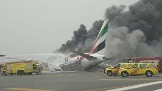 Emirates Airline flight crash lands at Dubai International Airport
