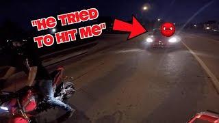 SKETCHY MAN ROAD RAGES AT MOTORCYCLES! | RIDING THROUGH SKETCHY TUNNEL AT NIGHT!