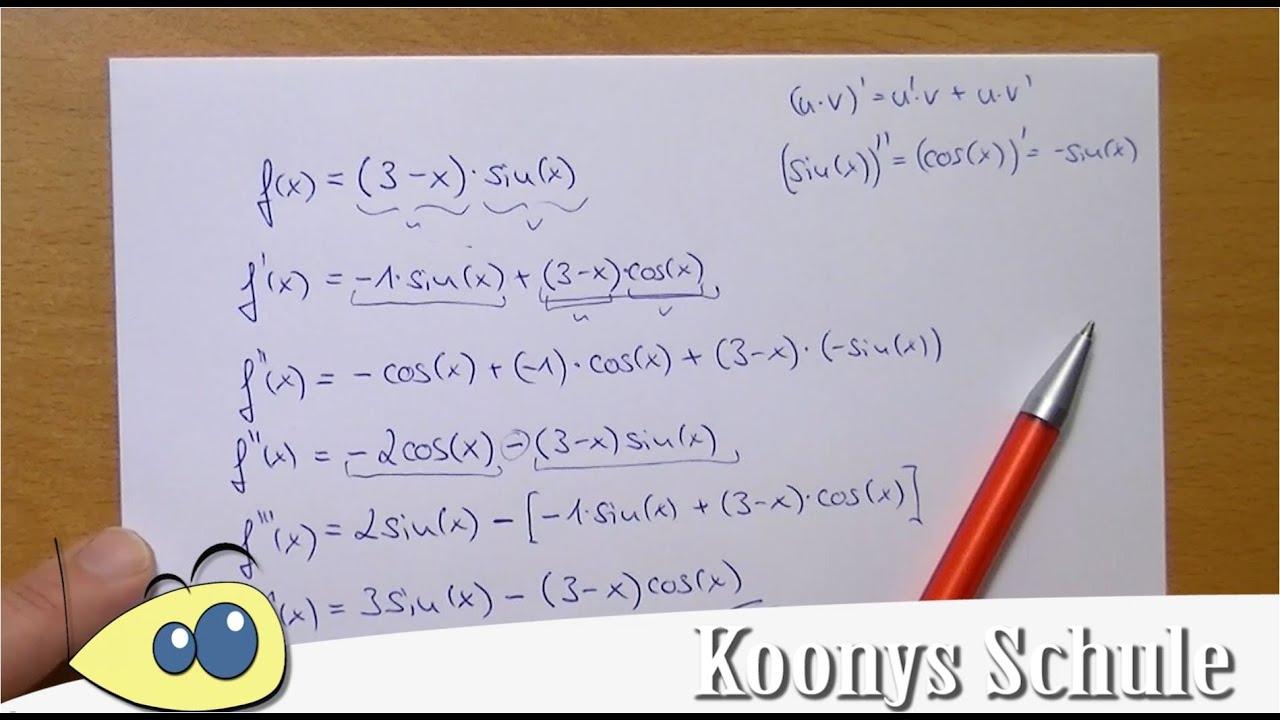 f(x)=(3-x)sin(x) dreimal abgeleitet | Beispiel, Ableitung ...