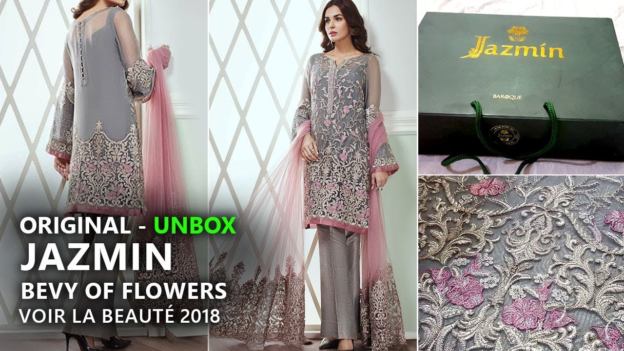5fa213919 Jazmin Chiffon Collection 2018 - Unbox Bevy of Flowers Pakistani Branded  Clothes