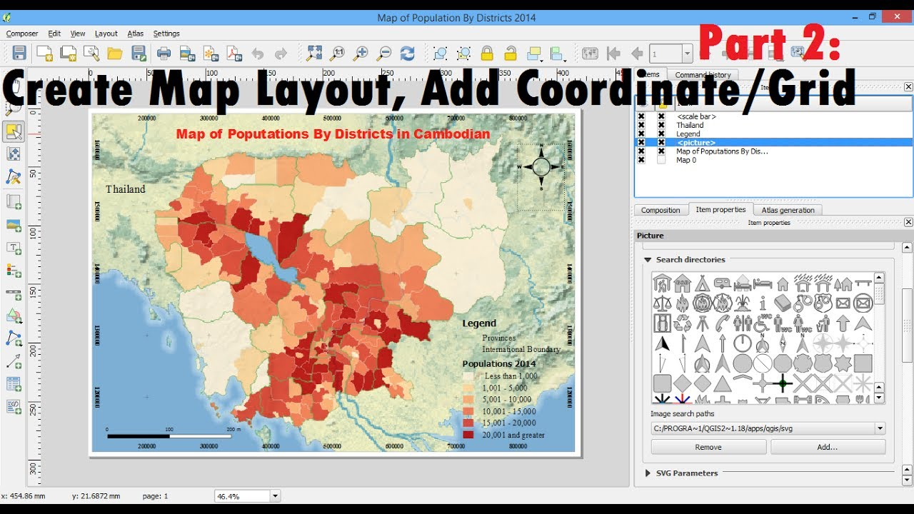 part 2 create map layout qgis printing and exporting map layout