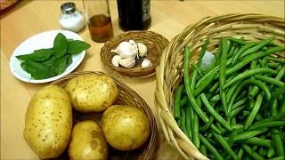 Салат Картошка из Стручковой Зеленой Фасолью и Мятой.