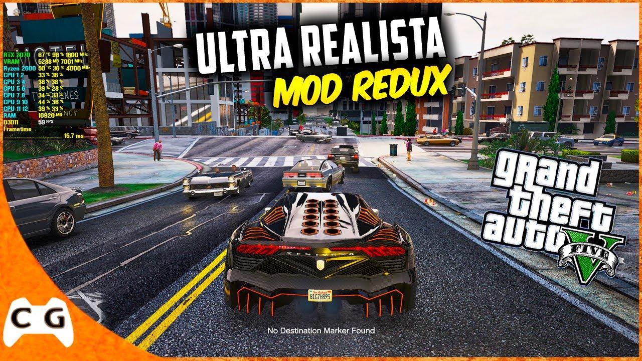 GTA 5 Mods - Como Instalar Mod Redux 2020 Muito Fácil + Gameplay RTX 2070 | 1440p Gráficos Realistas