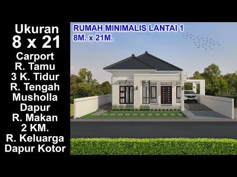 modern house 8x21 k. tidur. desain rumah minimalis lantai