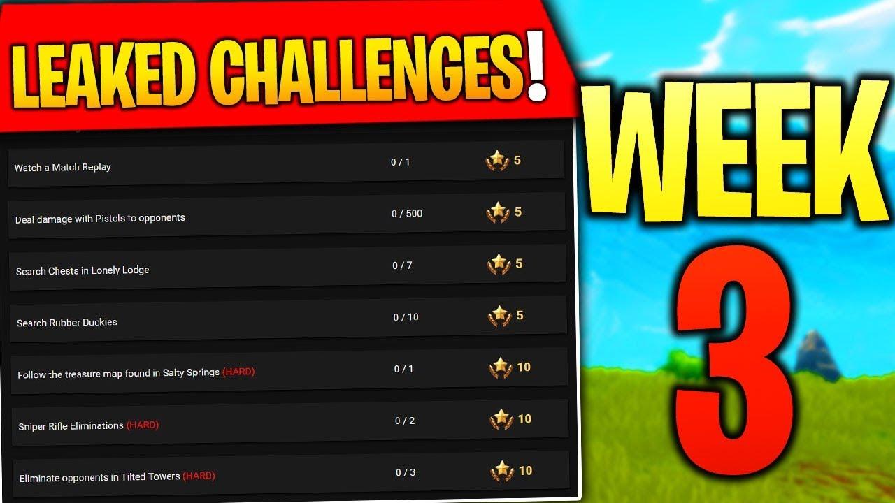 Fortnite Week 3 Challenges Leaked Fortnite Season 4 Battle Pass