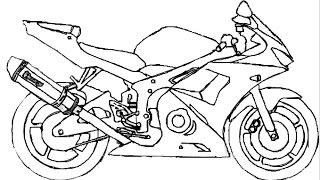 วาดรูป การ์ตูน มอเตอร์ไซค์ - How To Draw A Motorcycle
