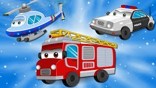 Fire Truck with Police Car and Ambulance in City | Emergency Cars Cartoon for kids