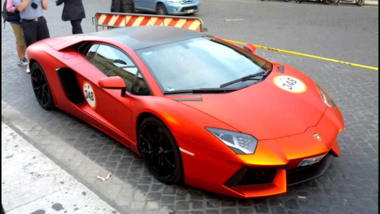 Matte pearlescent orange and black Lamborghini Aventador ...