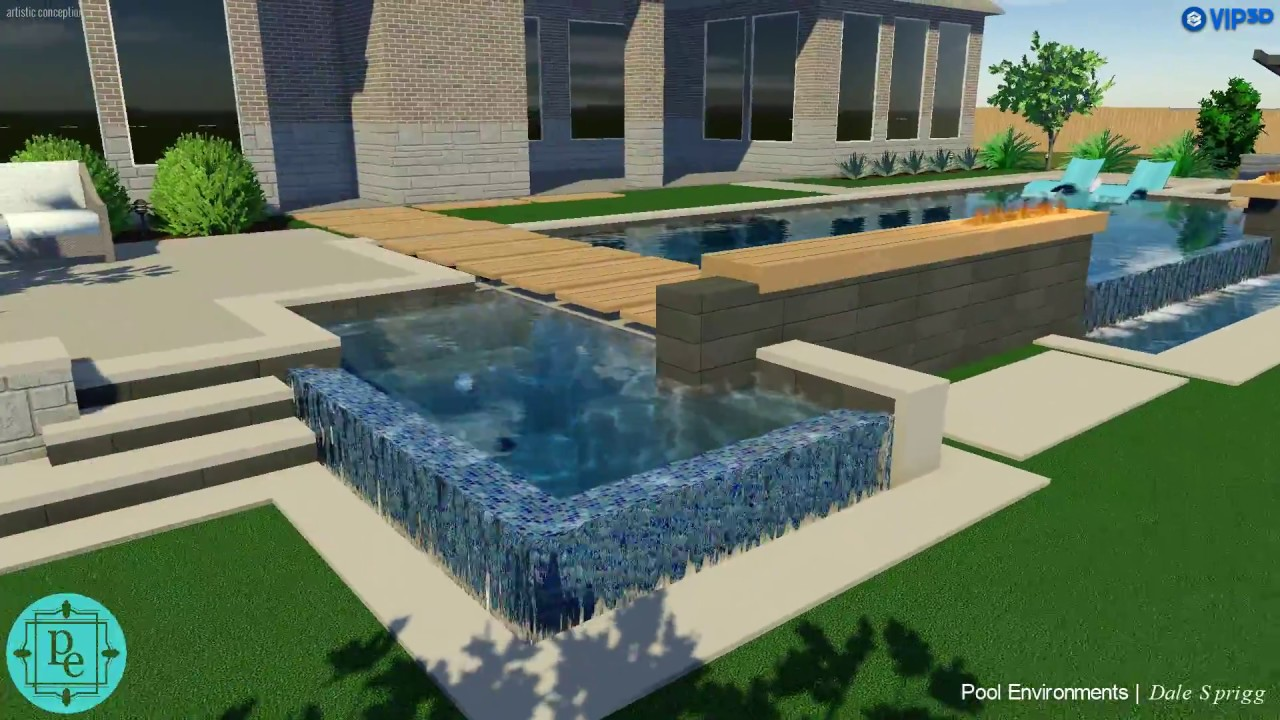 The Colony TX Modern Pool Design with vanishing edge and linear ...