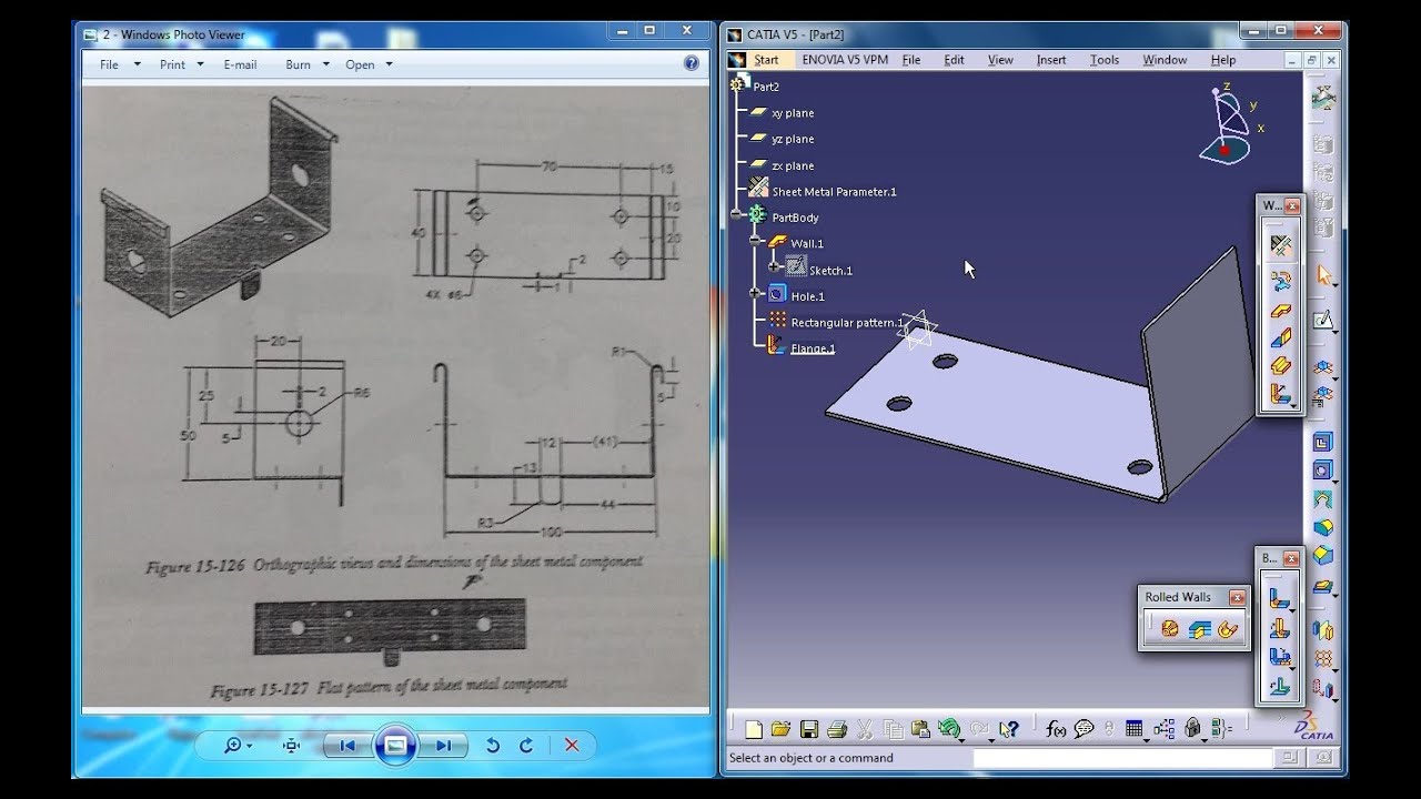 Catia V5 Tutorial Practice1 For Beginners P3 Sheetmetal