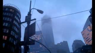 Wind howling through the World Trade Center buildings during Hurricane Sandy