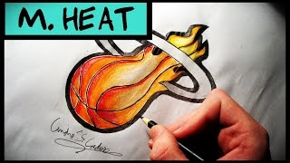 Como Desenhar a logo Miami Heat [NBA] - (How to Draw Miami Heat logo) - NBA LOGOS # 1
