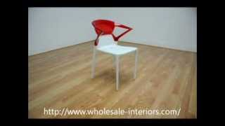 Wholesale Interiors Swap White Plastic Modern Dining Chair With Red Backrest