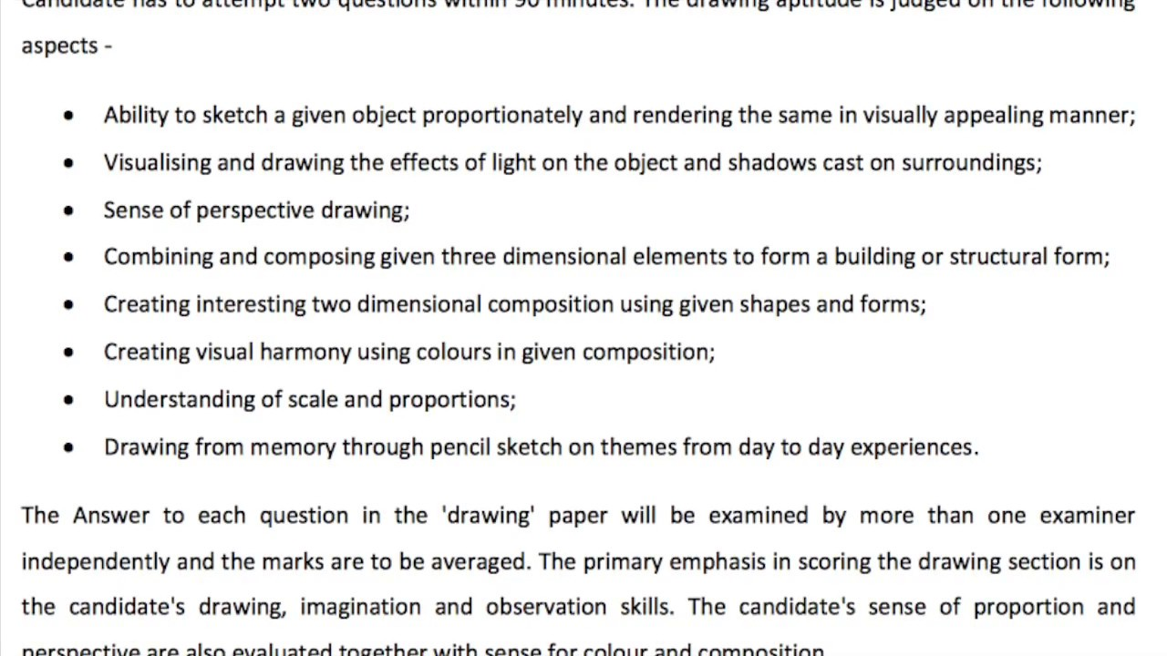Architecture Drawing Test nata 2017 (national aptitude test in architecture) ,details
