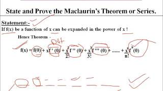 MACLAURIN'S THEOREM OR SERIES