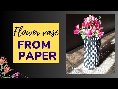 Diy Paper Flower Vase | News Paper Craft | Quick easy flower pot idea