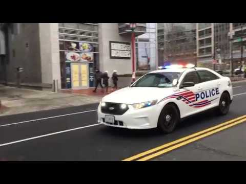 WASHINGTON DC METRO POLICE CRUISER RESPONDING DURING INAUGURAL EVENTS FOR PRESIDENT TRUMP.