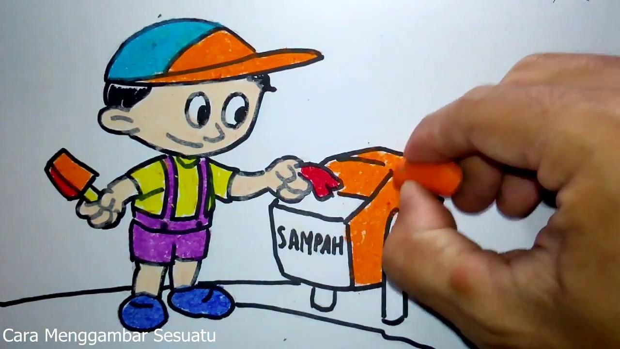 Cara Menggambar Anak Membuang Sampah Pada Tempatnya Youtube