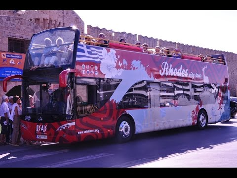 RHODES CITY TOUR ON DOUBLE DECKER BUS, GREECE, JUNE 2015