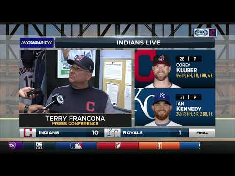 Terry Francona gives an update on Corey Kluber's ankle after Indians' 10-1 win